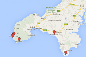 Storm watchers West Cornwall map